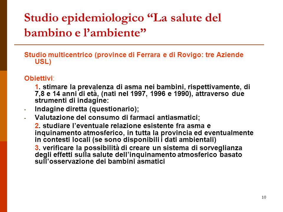 10 Studio epidemiologico La salute del bambino e lambiente Studio multicentrico (province di Ferrara e di Rovigo: tre Aziende USL) Obiettivi: 1.