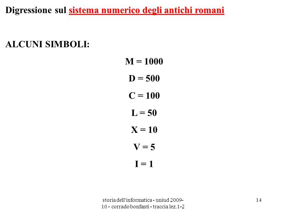 storia dell'informatica - uniud 2009- 10 - corrado bonfanti - traccia lez.1-2 14 sistema numerico degli antichi romani Digressione sul sistema numeric
