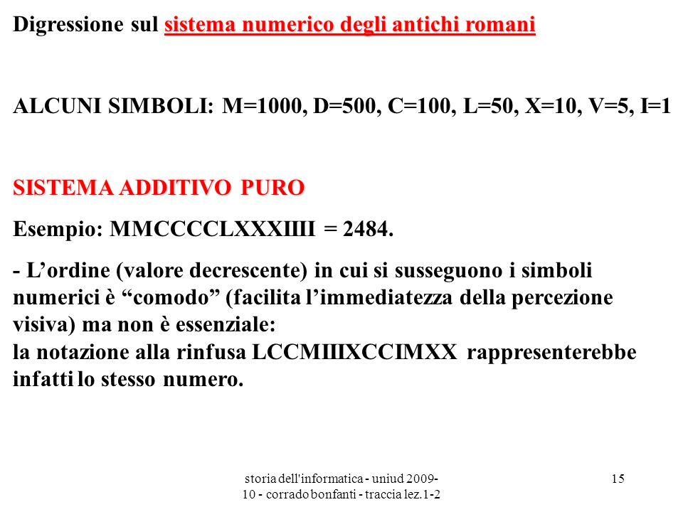 storia dell'informatica - uniud 2009- 10 - corrado bonfanti - traccia lez.1-2 15 sistema numerico degli antichi romani Digressione sul sistema numeric