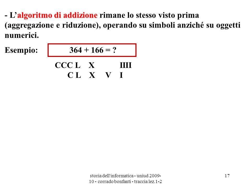 storia dell'informatica - uniud 2009- 10 - corrado bonfanti - traccia lez.1-2 17 algoritmo di addizione - Lalgoritmo di addizione rimane lo stesso vis