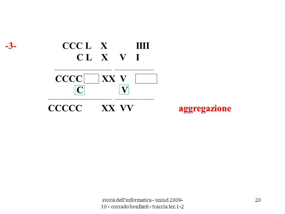 storia dell'informatica - uniud 2009- 10 - corrado bonfanti - traccia lez.1-2 20 -3- CCC L X IIII C L X V I aggregazione -----------------------------