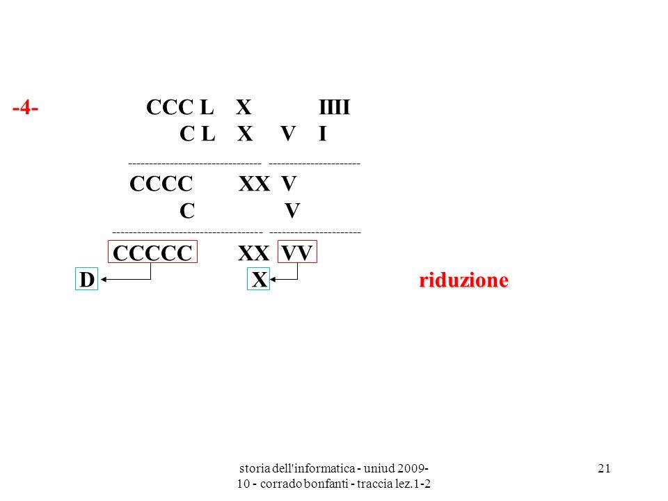 storia dell'informatica - uniud 2009- 10 - corrado bonfanti - traccia lez.1-2 21 -4- CCC L X IIII C L X V I riduzione --------------------------------