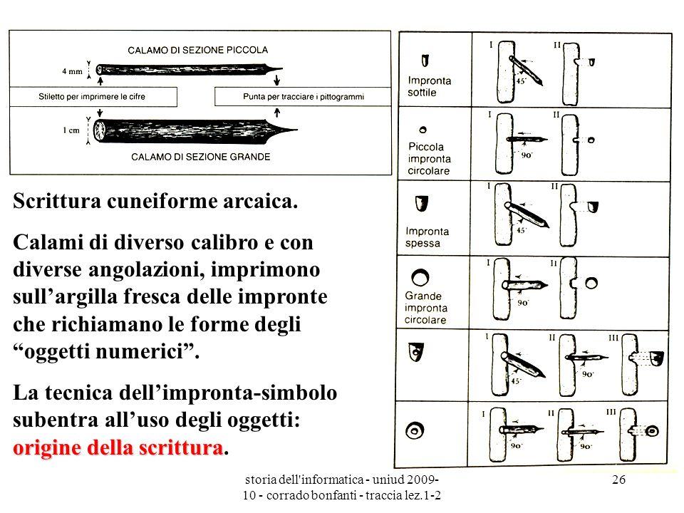 storia dell'informatica - uniud 2009- 10 - corrado bonfanti - traccia lez.1-2 26 Scrittura cuneiforme arcaica. Calami di diverso calibro e con diverse
