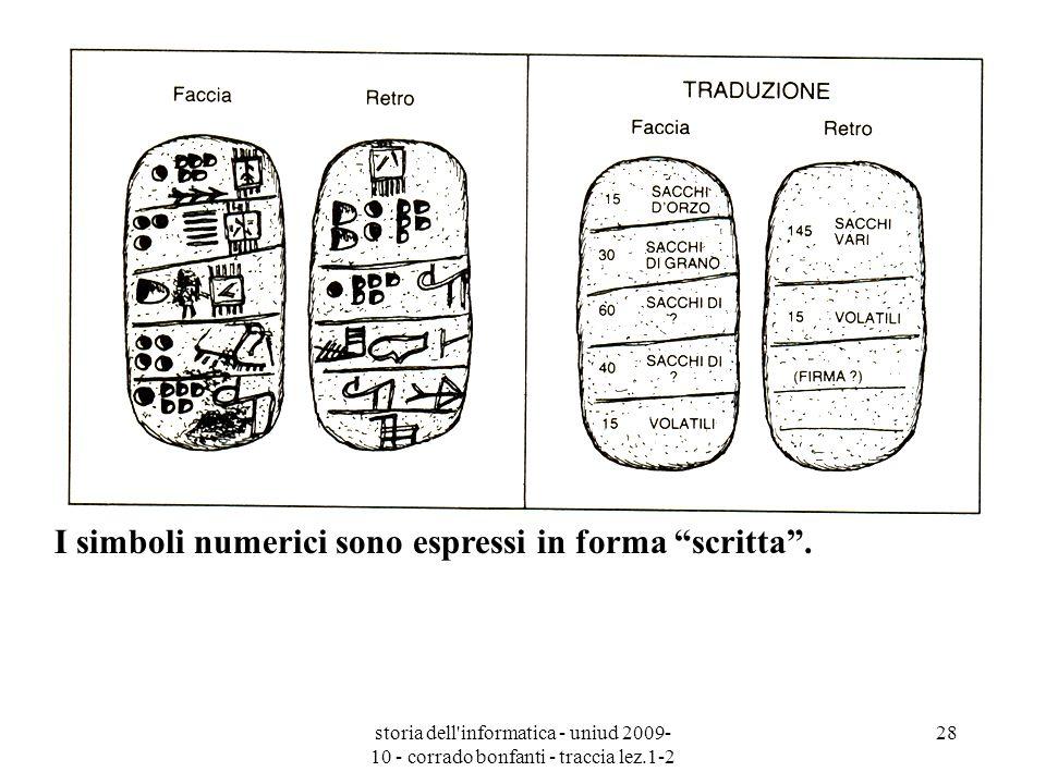 storia dell'informatica - uniud 2009- 10 - corrado bonfanti - traccia lez.1-2 28 I simboli numerici sono espressi in forma scritta.