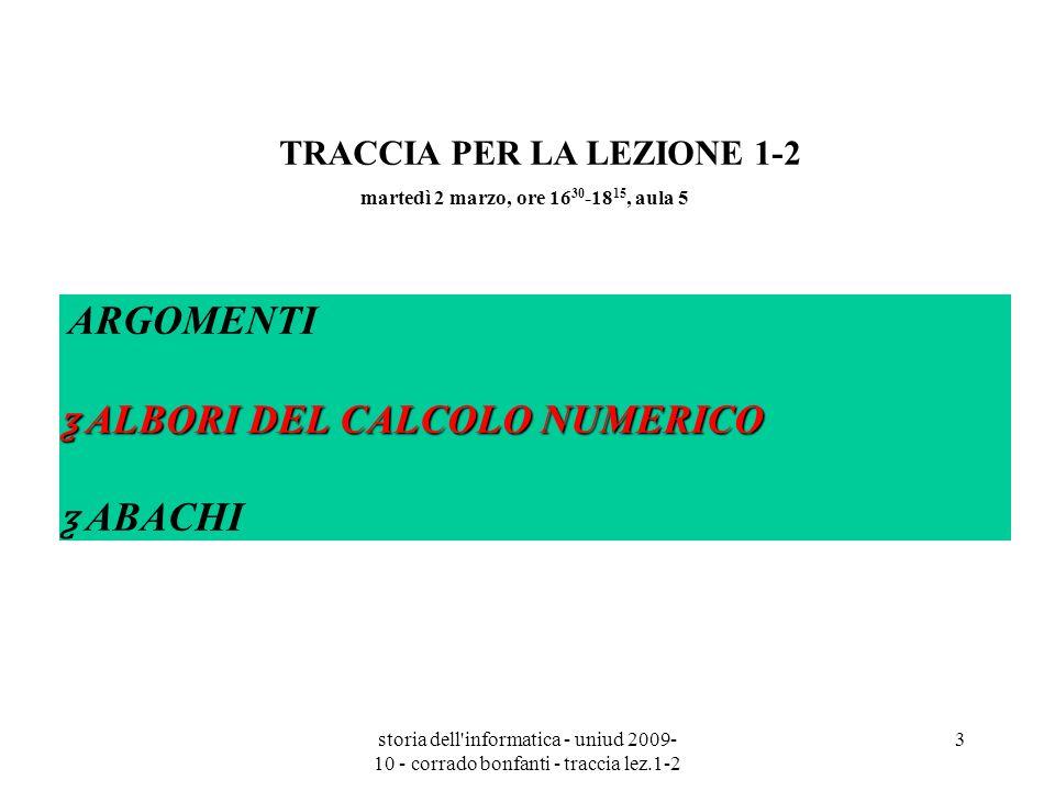 storia dell informatica - uniud 2009- 10 - corrado bonfanti - traccia lez.1-2 14 sistema numerico degli antichi romani Digressione sul sistema numerico degli antichi romani ALCUNI SIMBOLI: M = 1000 D = 500 C = 100 L = 50 X = 10 V = 5 I = 1