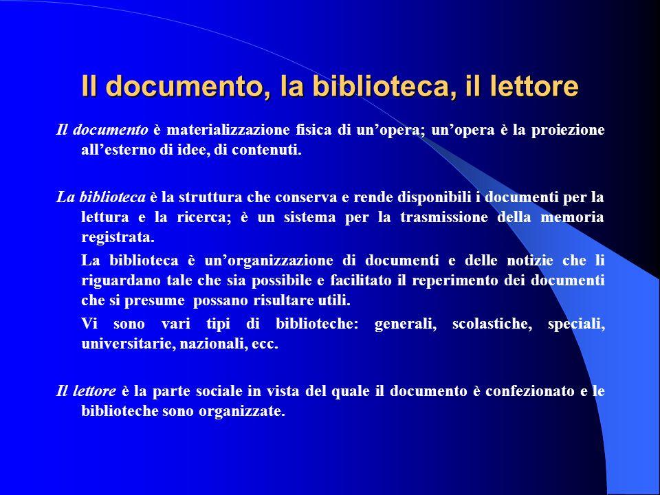 Il documento, la biblioteca, il lettore Il documento è materializzazione fisica di unopera; unopera è la proiezione allesterno di idee, di contenuti.