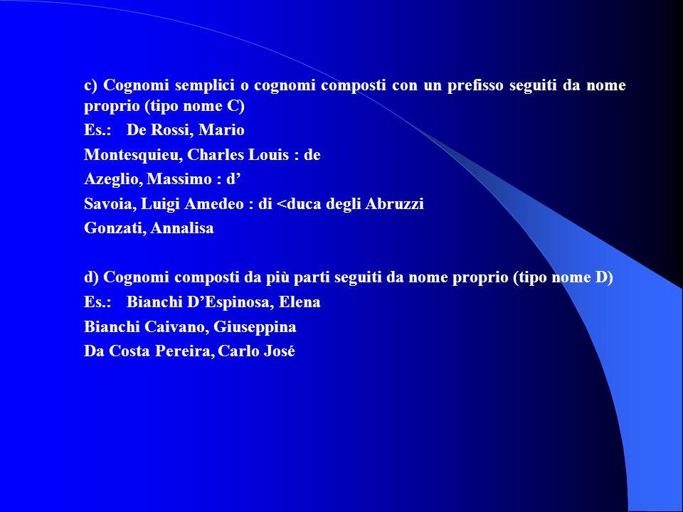 c) Cognomi semplici o cognomi composti con un prefisso seguiti da nome proprio (tipo nome C) Es.: De Rossi, Mario Montesquieu, Charles Louis : de Azeg