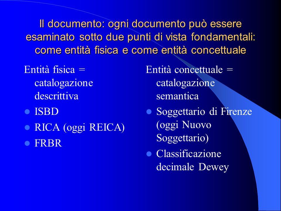 Il documento: ogni documento può essere esaminato sotto due punti di vista fondamentali: come entità fisica e come entità concettuale Entità fisica =