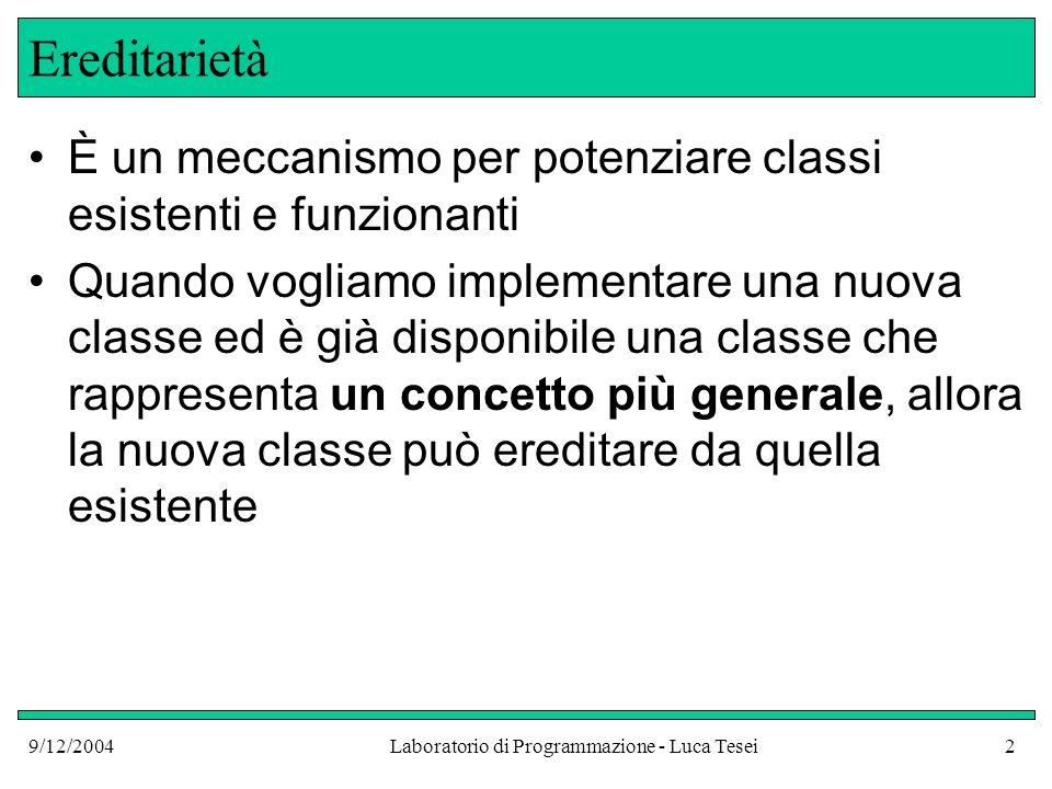 9/12/2004Laboratorio di Programmazione - Luca Tesei23 Metodi delle sottoclassi 3.Possiamo scrivere nuovi metodi: questi possono essere chiamati solo su oggetti della sottoclasse