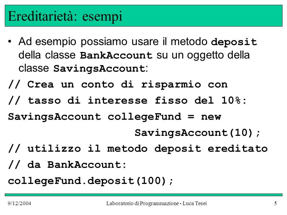 9/12/2004Laboratorio di Programmazione - Luca Tesei5 Ereditarietà: esempi Ad esempio possiamo usare il metodo deposit della classe BankAccount su un oggetto della classe SavingsAccount : // Crea un conto di risparmio con // tasso di interesse fisso del 10%: SavingsAccount collegeFund = new SavingsAccount(10); // utilizzo il metodo deposit ereditato // da BankAccount: collegeFund.deposit(100);