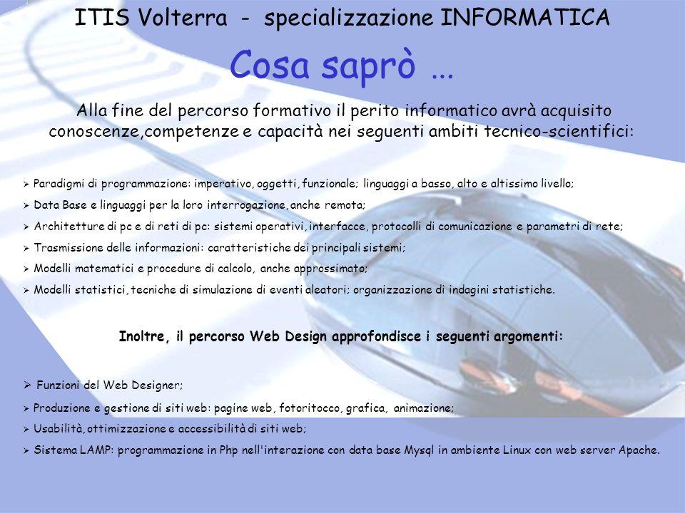 ITIS Volterra - specializzazione INFORMATICA Cosa saprò … Alla fine del percorso formativo il perito informatico avrà acquisito conoscenze,competenze