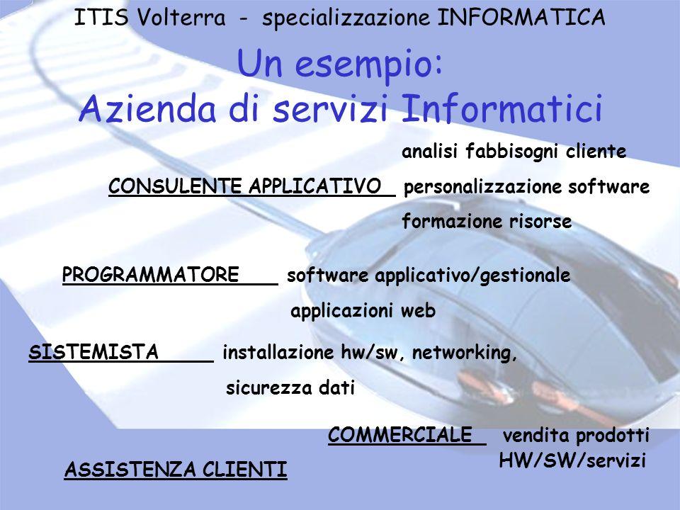 Un esempio: Azienda di servizi Informatici COMMERCIALE vendita prodotti HW/SW/servizi analisi fabbisogni cliente CONSULENTE APPLICATIVO personalizzazi