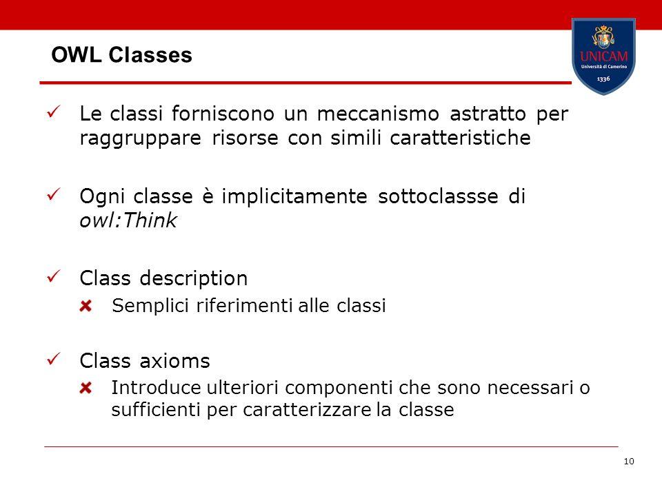 10 OWL Classes Le classi forniscono un meccanismo astratto per raggruppare risorse con simili caratteristiche Ogni classe è implicitamente sottoclasss