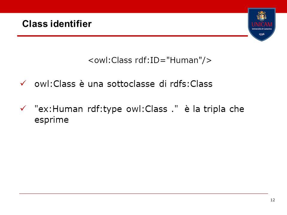 12 Class identifier owl:Class è una sottoclasse di rdfs:Class ex:Human rdf:type owl:Class. è la tripla che esprime