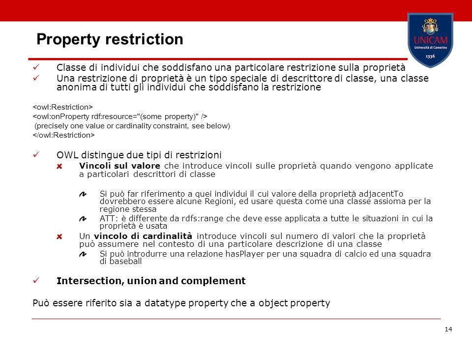 14 Property restriction Classe di individui che soddisfano una particolare restrizione sulla proprietà Una restrizione di proprietà è un tipo speciale di descrittore di classe, una classe anonima di tutti gli individui che soddisfano la restrizione (precisely one value or cardinality constraint, see below) OWL distingue due tipi di restrizioni Vincoli sul valore che introduce vincoli sulle proprietà quando vengono applicate a particolari descrittori di classe Si può far riferimento a quei individui il cui valore della proprietà adjacentTo dovrebbero essere alcune Regioni, ed usare questa come una classe assioma per la regione stessa ATT: è differente da rdfs:range che deve esse applicata a tutte le situazioni in cui la proprietà è usata Un vincolo di cardinalità introduce vincoli sul numero di valori che la proprietà può assumere nel contesto di una particolare descrizione di una classe Si può introdurre una relazione hasPlayer per una squadra di calcio ed una squadra di baseball Intersection, union and complement Può essere riferito sia a datatype property che a object property