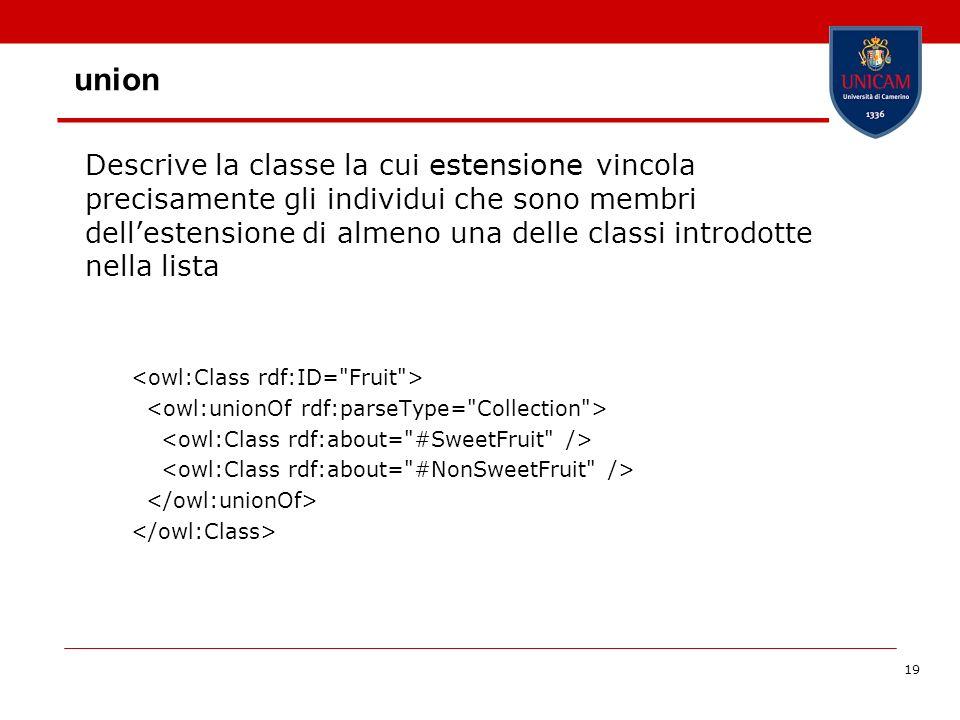 19 union Descrive la classe la cui estensione vincola precisamente gli individui che sono membri dellestensione di almeno una delle classi introdotte nella lista