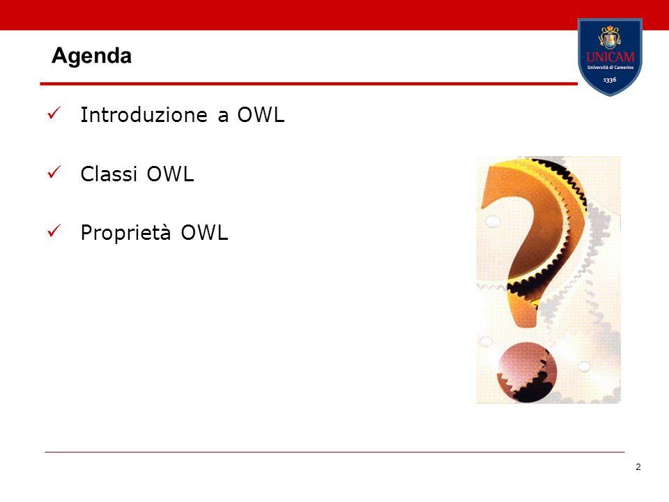 2 Agenda Introduzione a OWL Classi OWL Proprietà OWL