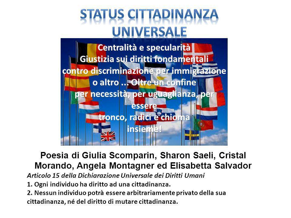 Poesia di Giulia Scomparin, Sharon Saeli, Cristal Morando, Angela Montagner ed Elisabetta Salvador Articolo 15 della Dichiarazione Universale dei Diritti Umani 1.