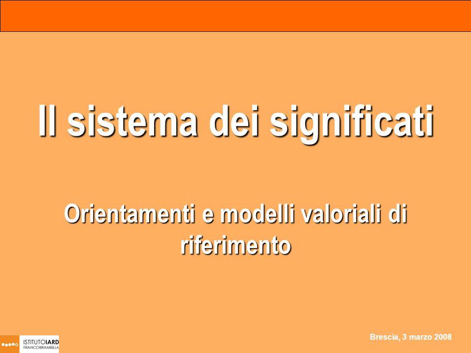 Brescia, 3 marzo 2008 Il sistema dei significati Orientamenti e modelli valoriali di riferimento
