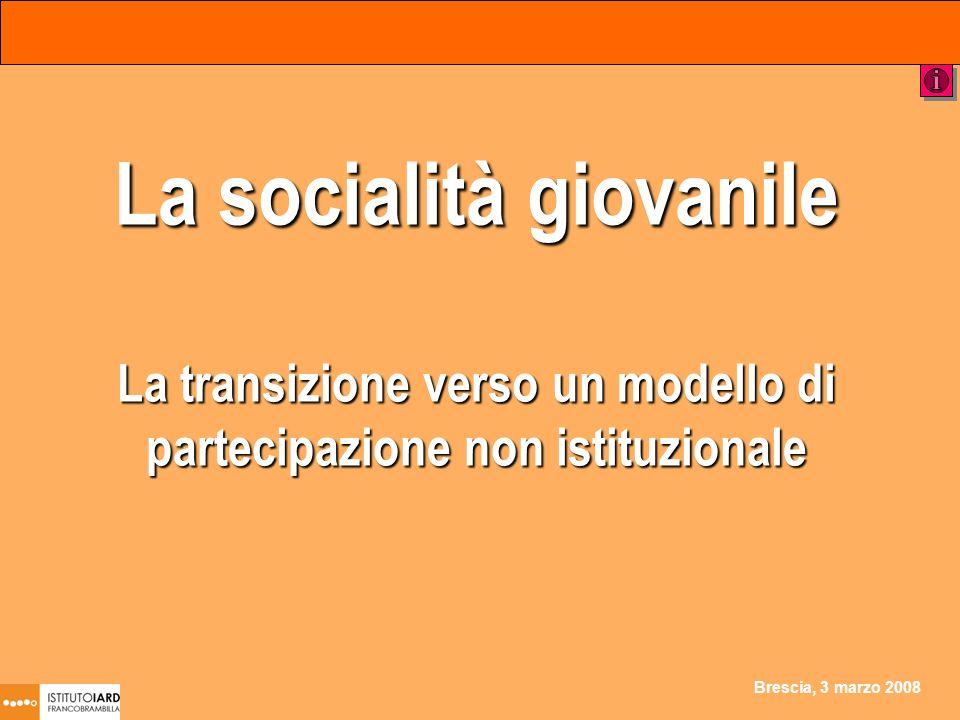 Brescia, 3 marzo 2008 La socialità giovanile La transizione verso un modello di partecipazione non istituzionale