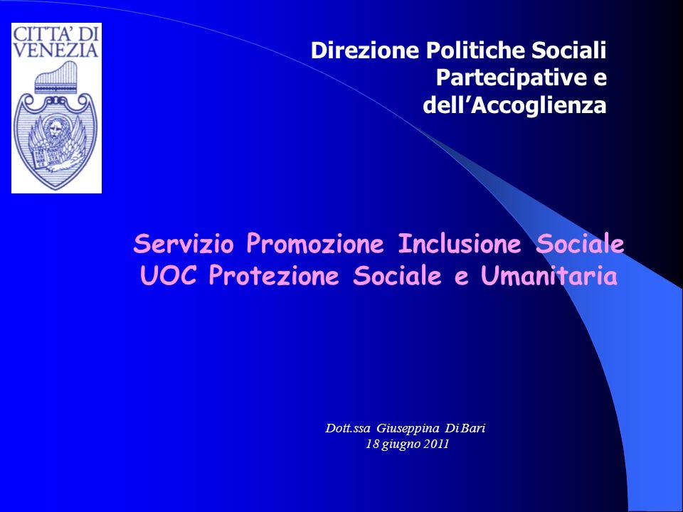 Servizio Promozione Inclusione Sociale UOC Protezione Sociale e Umanitaria Direzione Politiche Sociali Partecipative e dellAccoglienza Dott.ssa Giusep