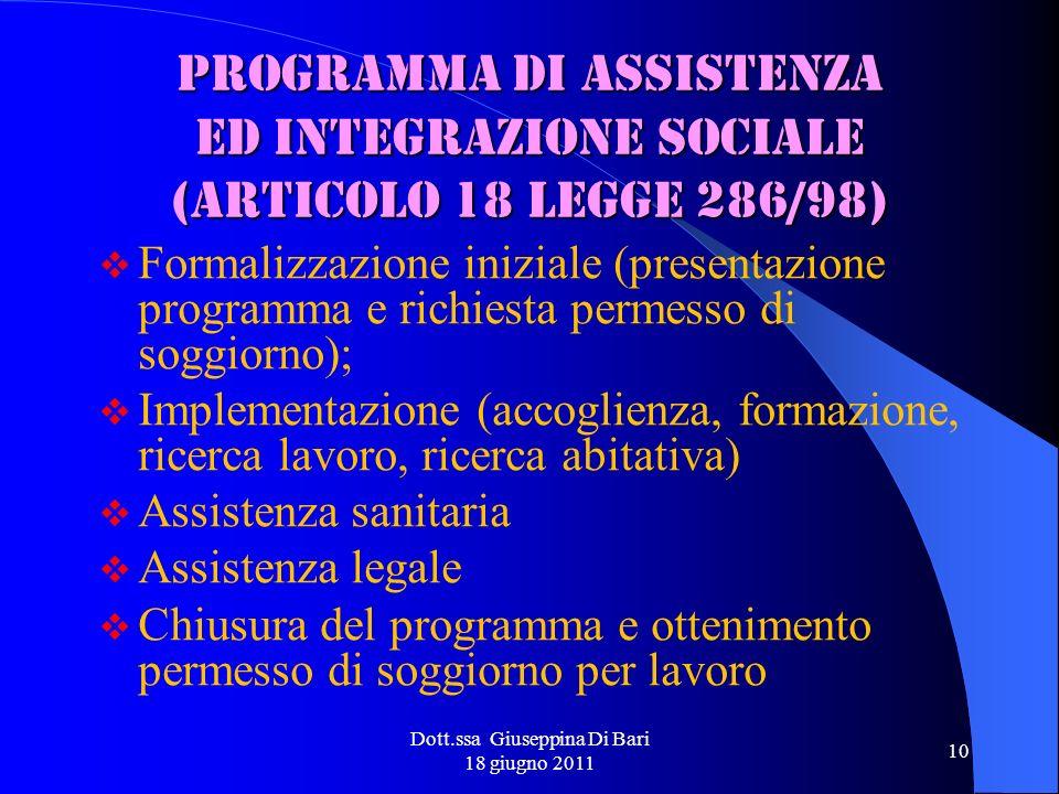 Dott.ssa Giuseppina Di Bari 18 giugno 2011 10 Programma di assistenza ed integrazione sociale (articolo 18 Legge 286/98) Formalizzazione iniziale (pre