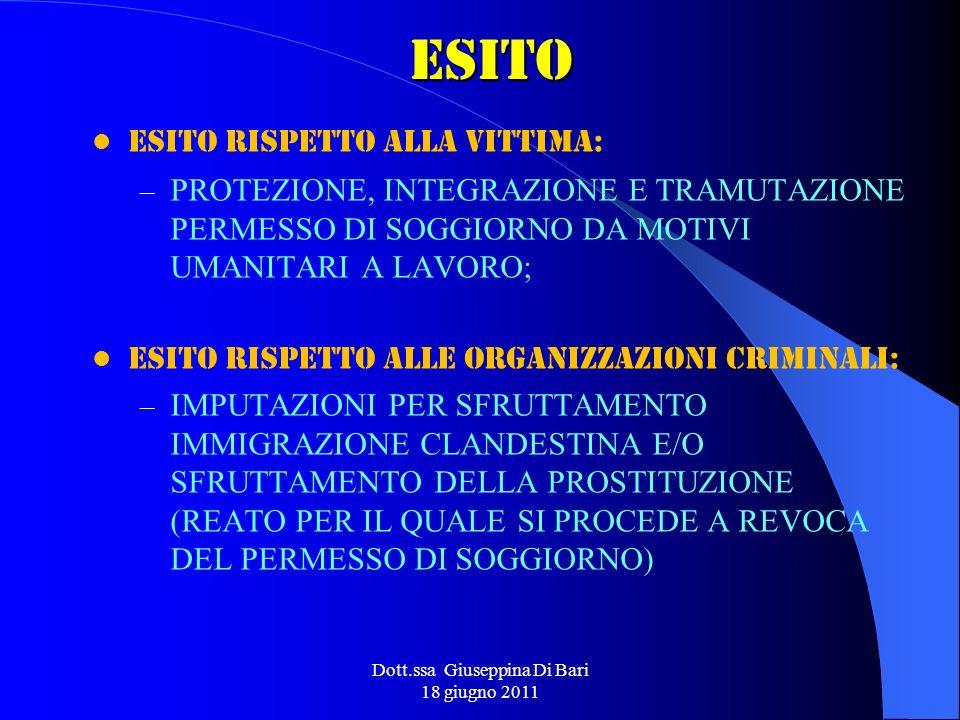 Dott.ssa Giuseppina Di Bari 18 giugno 2011ESITO ESITO RISPETTO ALLA VITTIMA: – PROTEZIONE, INTEGRAZIONE E TRAMUTAZIONE PERMESSO DI SOGGIORNO DA MOTIVI