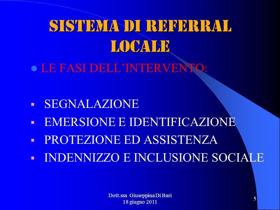 Dott.ssa Giuseppina Di Bari 18 giugno 2011 5 SISTEMA DI REFERRAL LOCALE LE FASI DELLINTERVENTO: SEGNALAZIONE EMERSIONE E IDENTIFICAZIONE PROTEZIONE ED