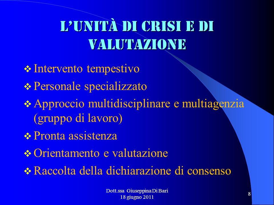 Dott.ssa Giuseppina Di Bari 18 giugno 2011 8 Lunità di crisi e di valutazione Intervento tempestivo Personale specializzato Approccio multidisciplinar