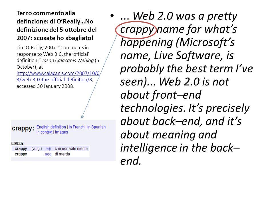 Novità delle nuove tecnologie? Web Ajax, CSS, RSS, OpenAPIs, Wiki Blog, Mashups, Podcast Etc..