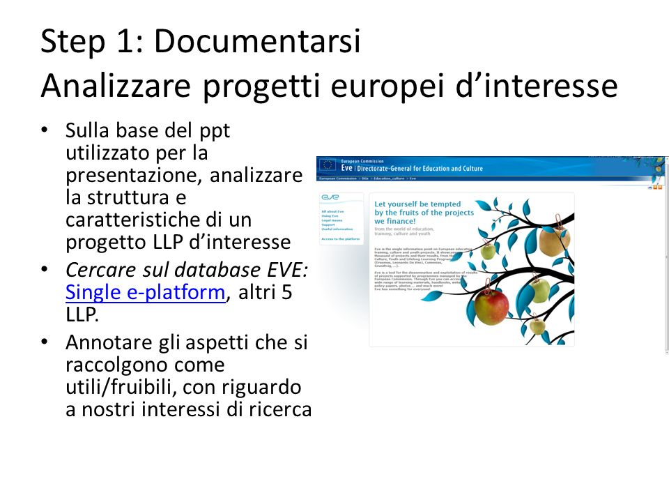 Step 1: Documentarsi Analizzare progetti europei dinteresse Sulla base del ppt utilizzato per la presentazione, analizzare la struttura e caratteristiche di un progetto LLP dinteresse Cercare sul database EVE: Single e-platform, altri 5 LLP.