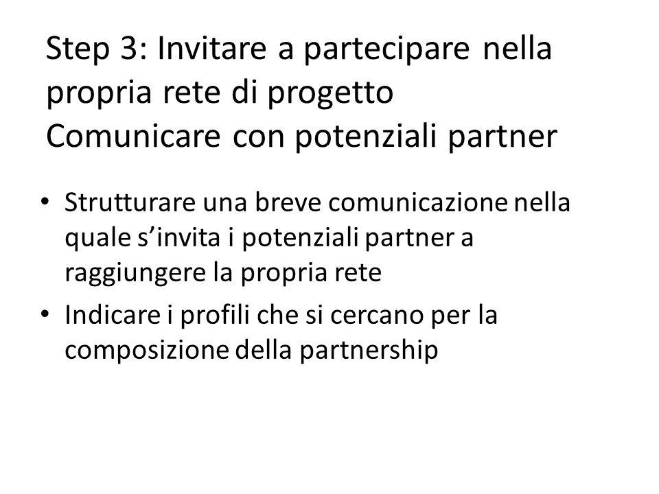 Step 3: Invitare a partecipare nella propria rete di progetto Comunicare con potenziali partner Strutturare una breve comunicazione nella quale sinvita i potenziali partner a raggiungere la propria rete Indicare i profili che si cercano per la composizione della partnership