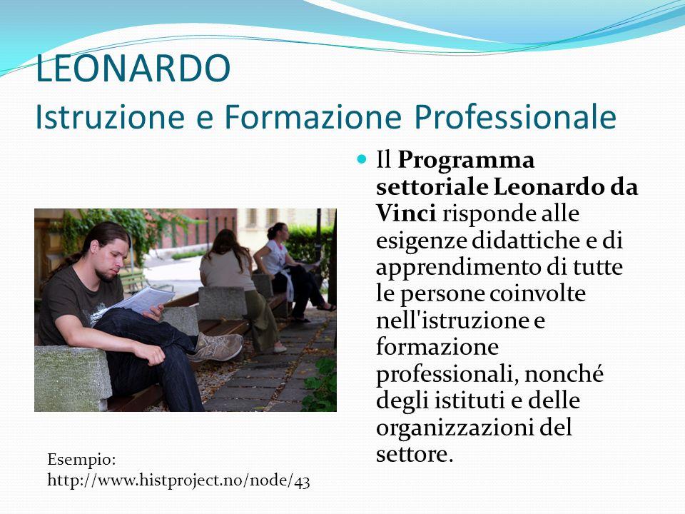 LEONARDO Istruzione e Formazione Professionale Il Programma settoriale Leonardo da Vinci risponde alle esigenze didattiche e di apprendimento di tutte le persone coinvolte nell istruzione e formazione professionali, nonché degli istituti e delle organizzazioni del settore.