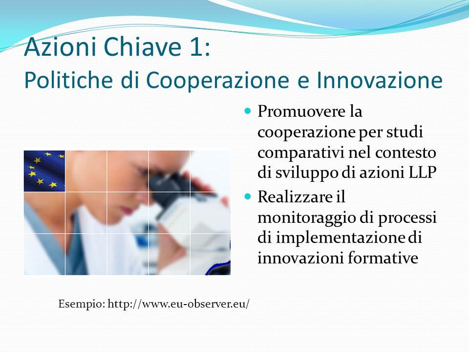 Azioni Chiave 1: Politiche di Cooperazione e Innovazione Promuovere la cooperazione per studi comparativi nel contesto di sviluppo di azioni LLP Realizzare il monitoraggio di processi di implementazione di innovazioni formative Esempio: http://www.eu-observer.eu/