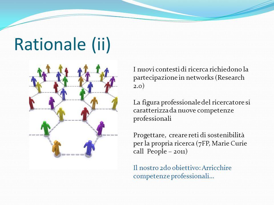 Rationale (ii) I nuovi contesti di ricerca richiedono la partecipazione in networks (Research 2.0) La figura professionale del ricercatore si caratter