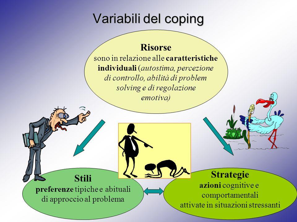 Variabili del coping Risorse sono in relazione alle caratteristiche individuali (autostima, percezione di controllo, abilità di problem solving e di r