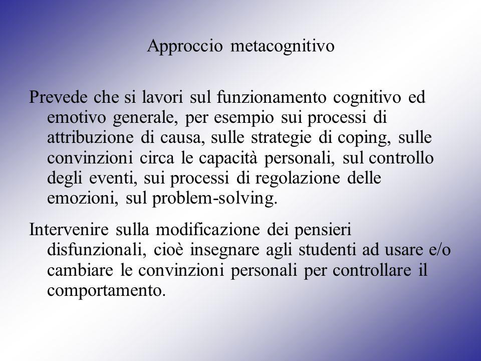Approccio metacognitivo Prevede che si lavori sul funzionamento cognitivo ed emotivo generale, per esempio sui processi di attribuzione di causa, sull
