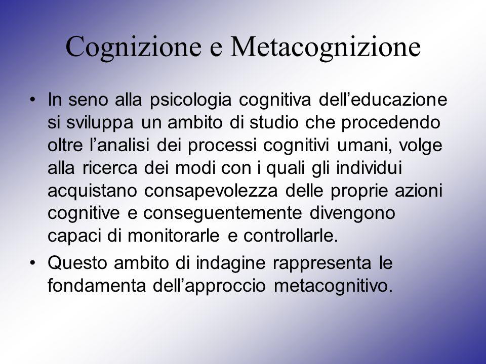 Cognizione e Metacognizione In seno alla psicologia cognitiva delleducazione si sviluppa un ambito di studio che procedendo oltre lanalisi dei process