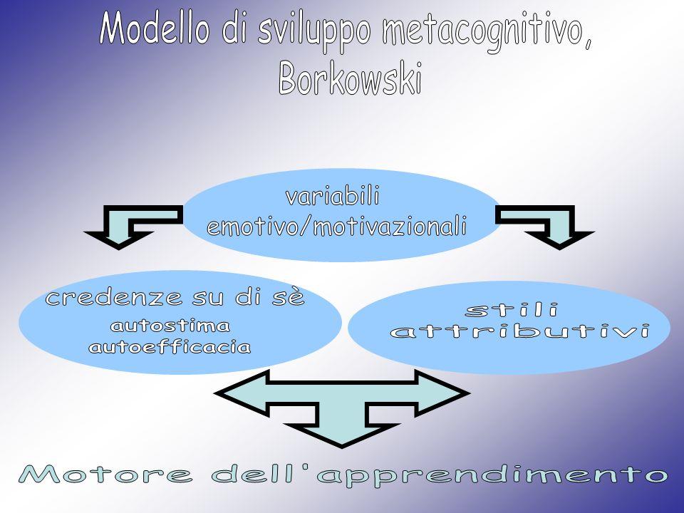Modello di sviluppo metacognitivo, Borkowski Conoscenza strategica specifica conoscenza di strategie e capacità di utilizzarle in modo adeguato.