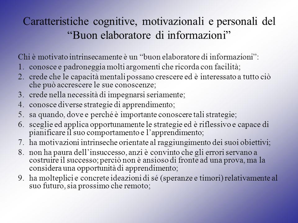 Caratteristiche cognitive, motivazionali e personali del Buon elaboratore di informazioni Chi è motivato intrinsecamente è un buon elaboratore di info