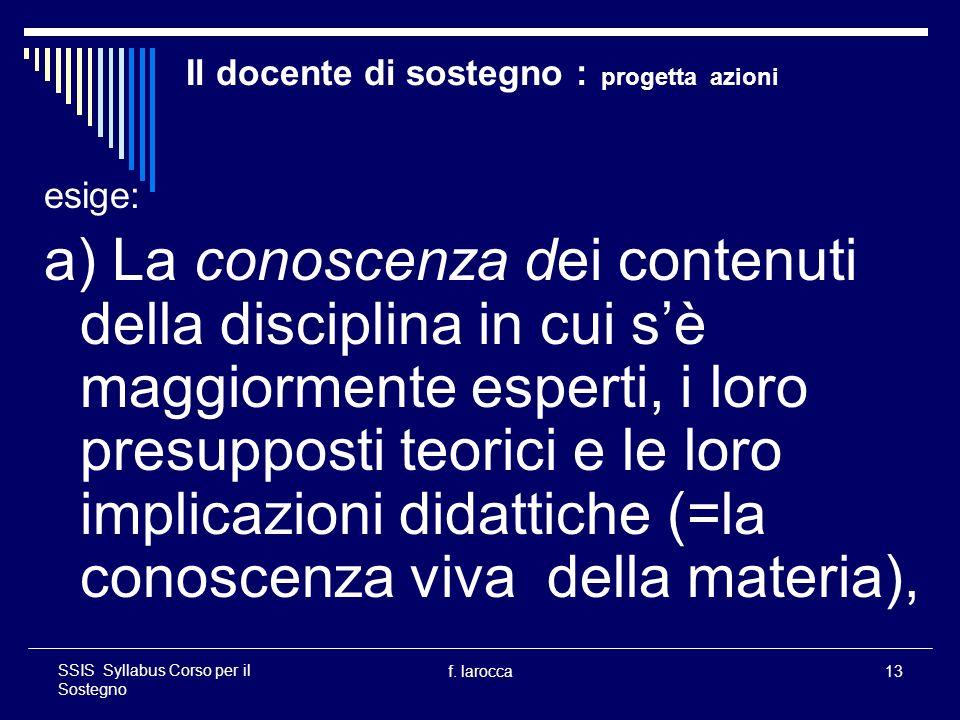 f. larocca13 SSIS Syllabus Corso per il Sostegno Il docente di sostegno : progetta azioni esige: a) La conoscenza dei contenuti della disciplina in cu