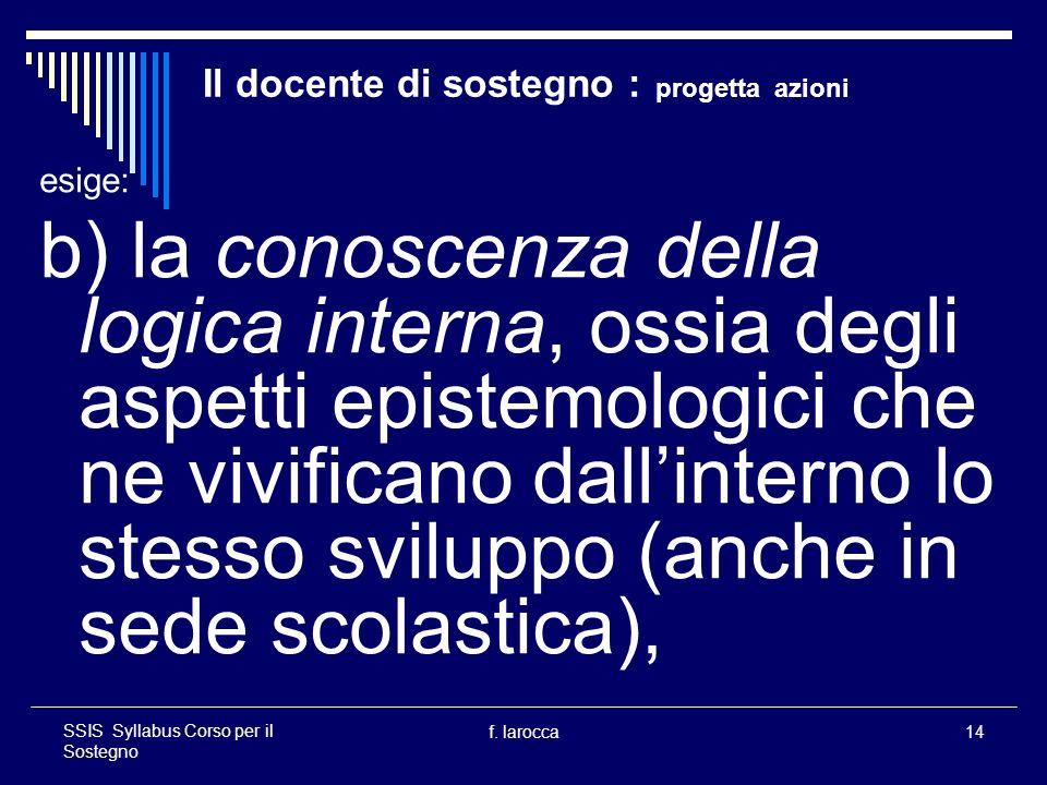f. larocca14 SSIS Syllabus Corso per il Sostegno Il docente di sostegno : progetta azioni esige: b) la conoscenza della logica interna, ossia degli as
