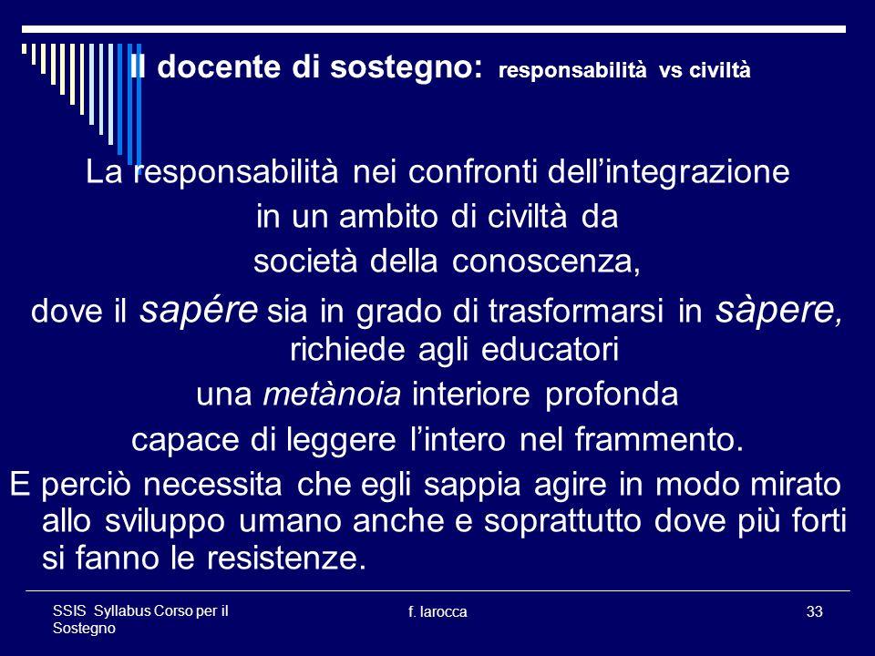 f. larocca33 SSIS Syllabus Corso per il Sostegno Il docente di sostegno: responsabilità vs civiltà La responsabilità nei confronti dellintegrazione in