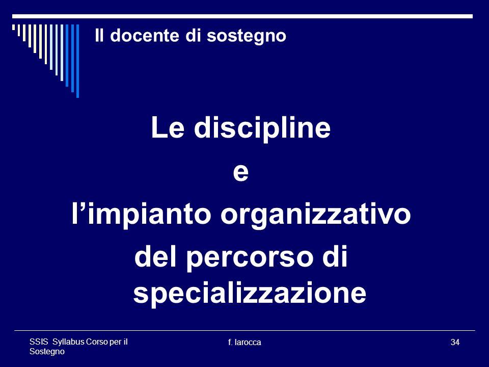 f. larocca34 SSIS Syllabus Corso per il Sostegno Il docente di sostegno Le discipline e limpianto organizzativo del percorso di specializzazione
