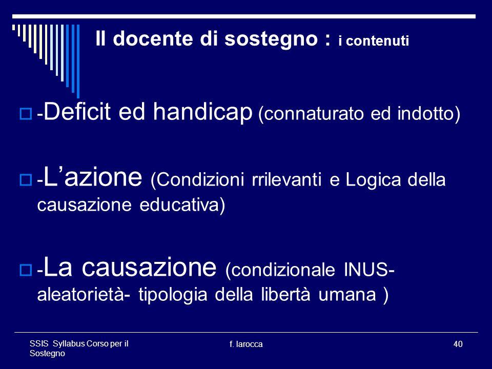 f. larocca40 SSIS Syllabus Corso per il Sostegno Il docente di sostegno : i contenuti - Deficit ed handicap (connaturato ed indotto) - Lazione (Condiz