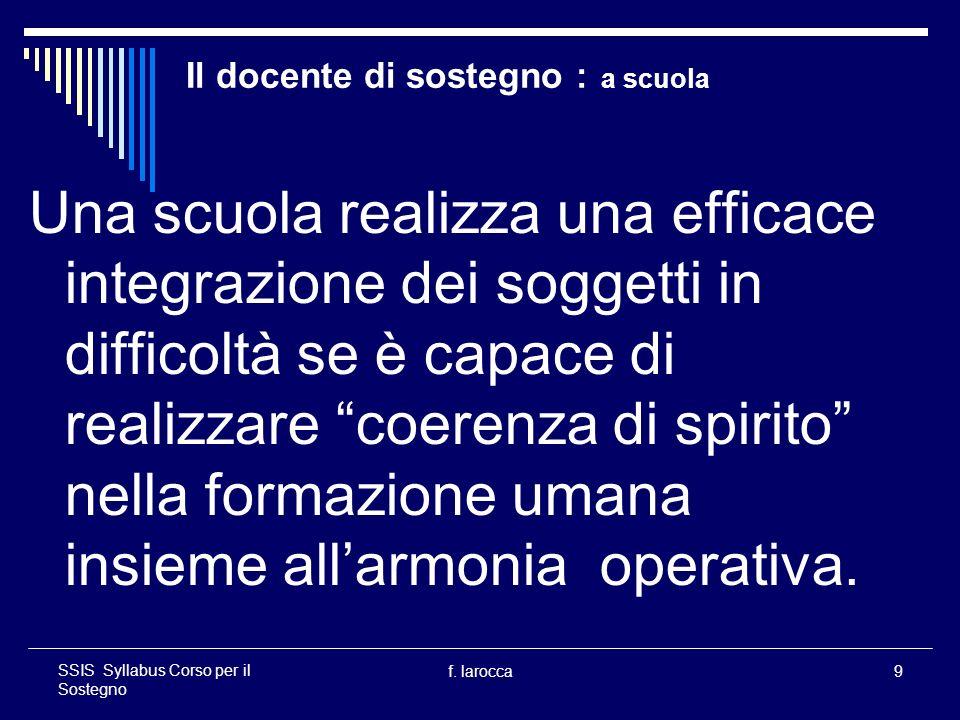 f.larocca30 SSIS Syllabus Corso per il Sostegno Il docente di sostegno : responsabilità profess.