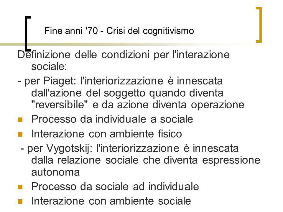 Fine anni '70 - Crisi del cognitivismo Definizione delle condizioni per l'interazione sociale: - per Piaget: l'interiorizzazione è innescata dall'azio