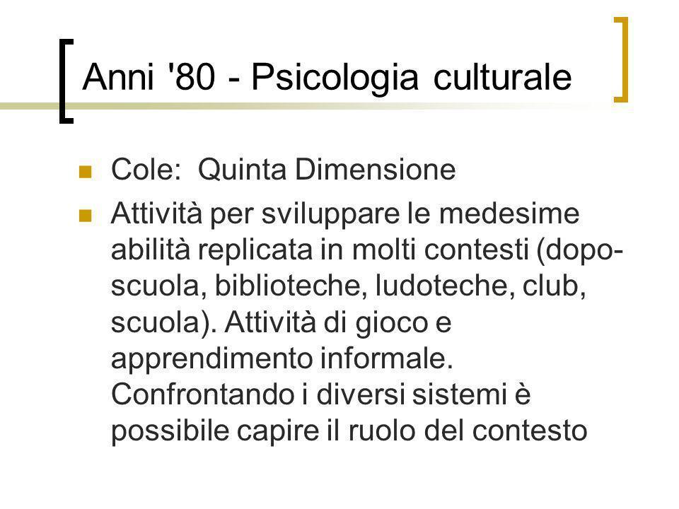 Anni '80 - Psicologia culturale Cole: Quinta Dimensione Attività per sviluppare le medesime abilità replicata in molti contesti (dopo- scuola, bibliot