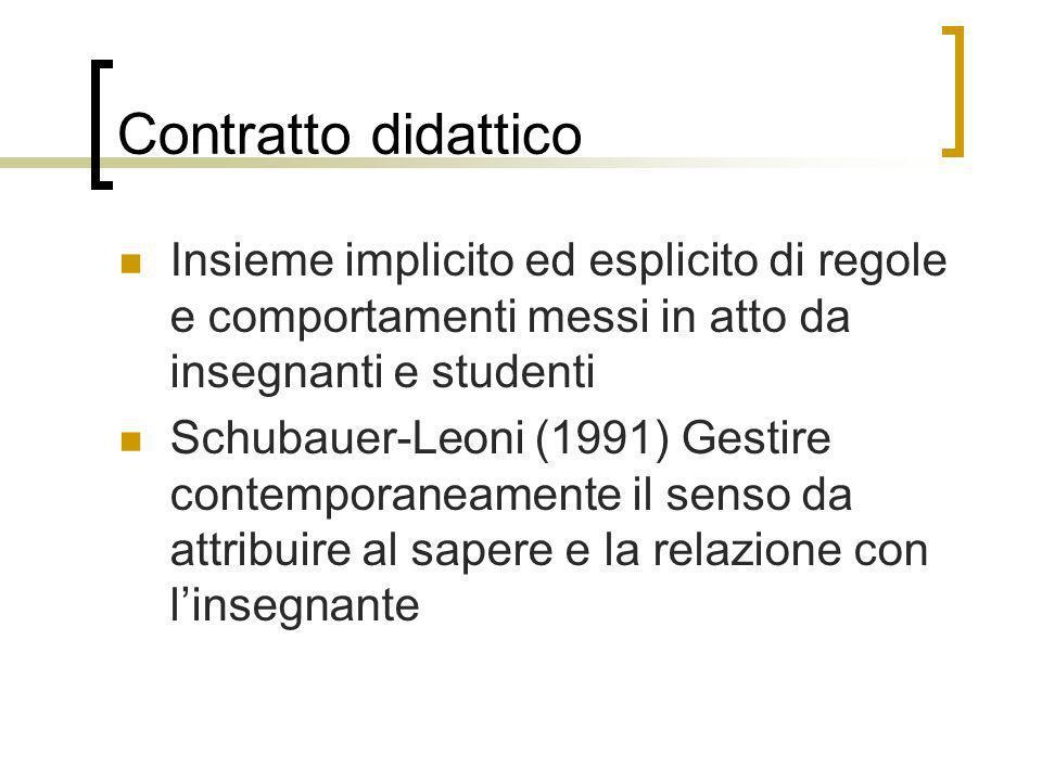 Contratto didattico Insieme implicito ed esplicito di regole e comportamenti messi in atto da insegnanti e studenti Schubauer-Leoni (1991) Gestire con