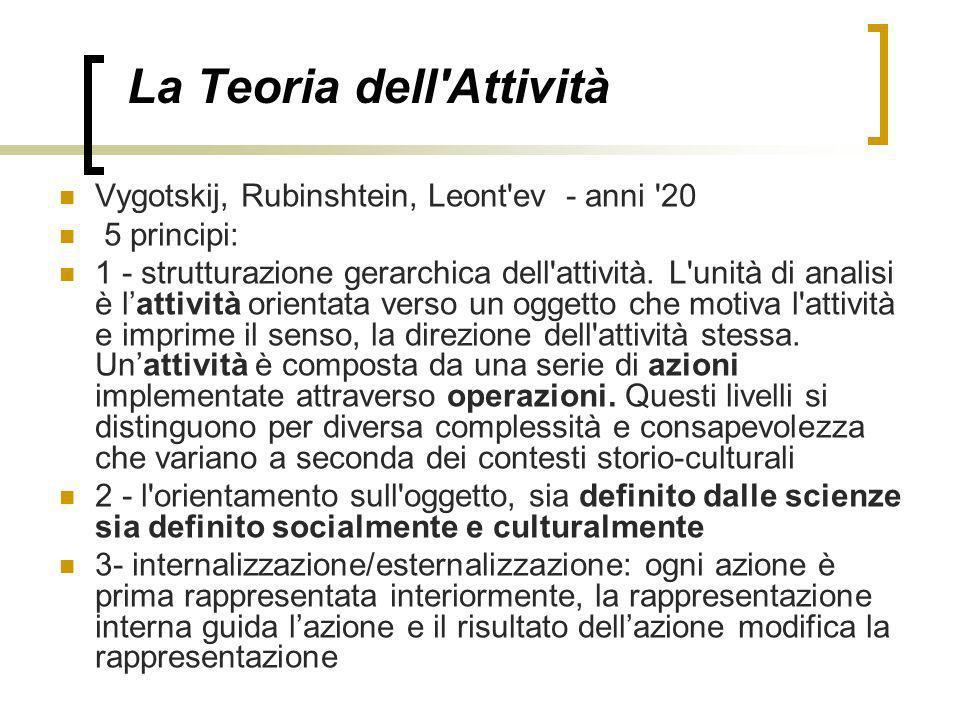 La Teoria dell'Attività Vygotskij, Rubinshtein, Leont'ev - anni '20 5 principi: 1 - strutturazione gerarchica dell'attività. L'unità di analisi è latt